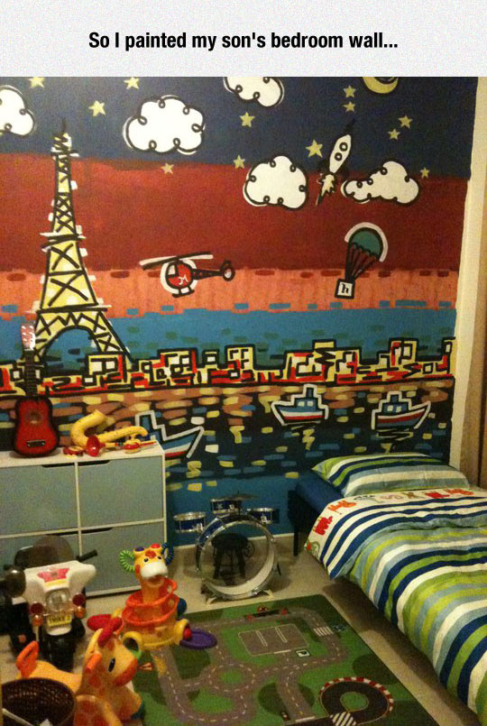 funny-bedroom-son-painted-Eiffel-Tower