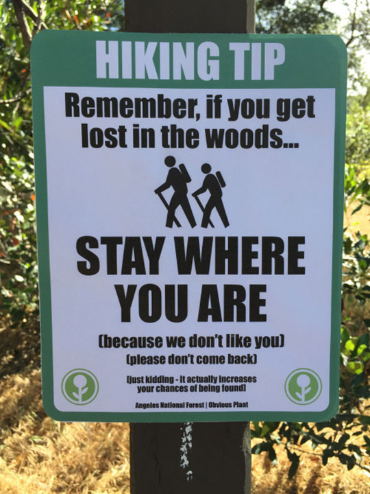 funny-hiking-sign-lost-found-forest