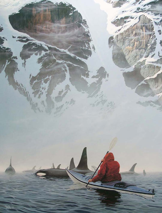 funny-kayak-Orcas-mountain-sea-painting