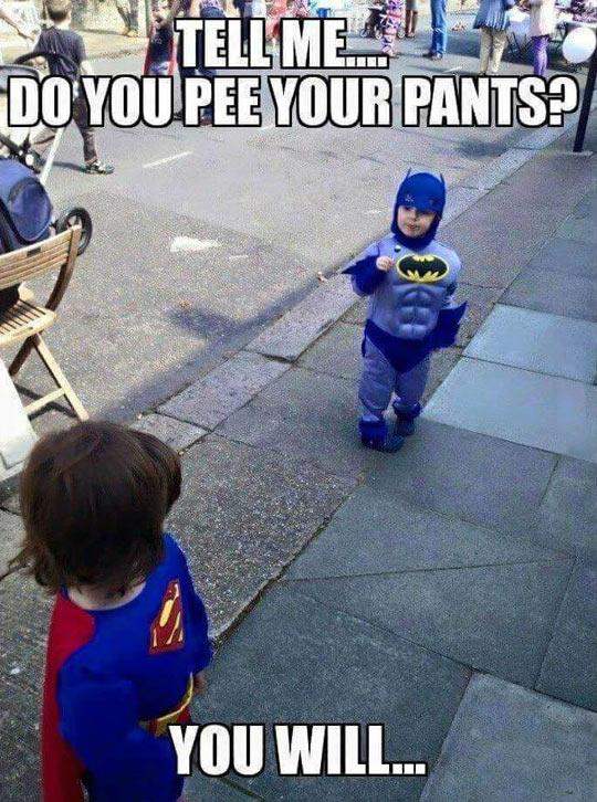 Tiny Batman Vs. Little Superman