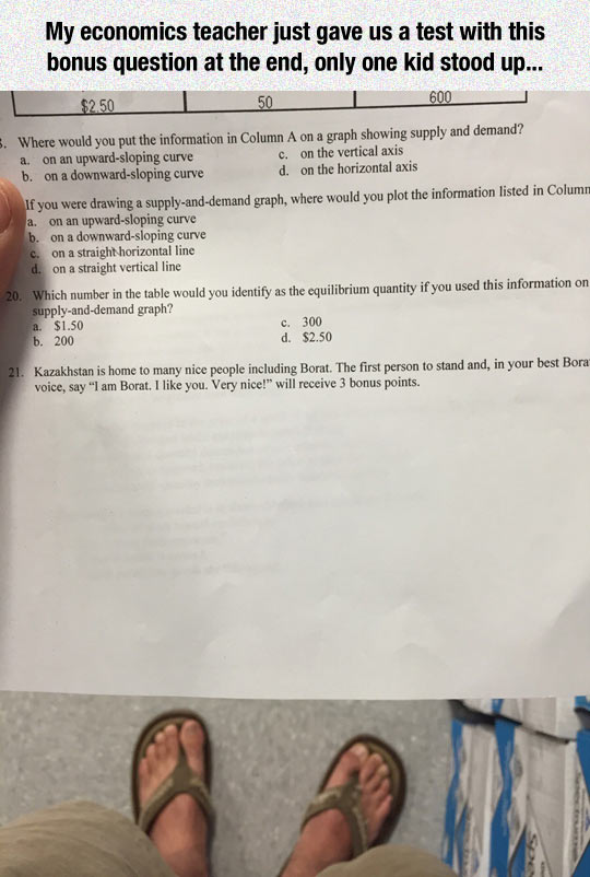 A Test With A Bonus Question