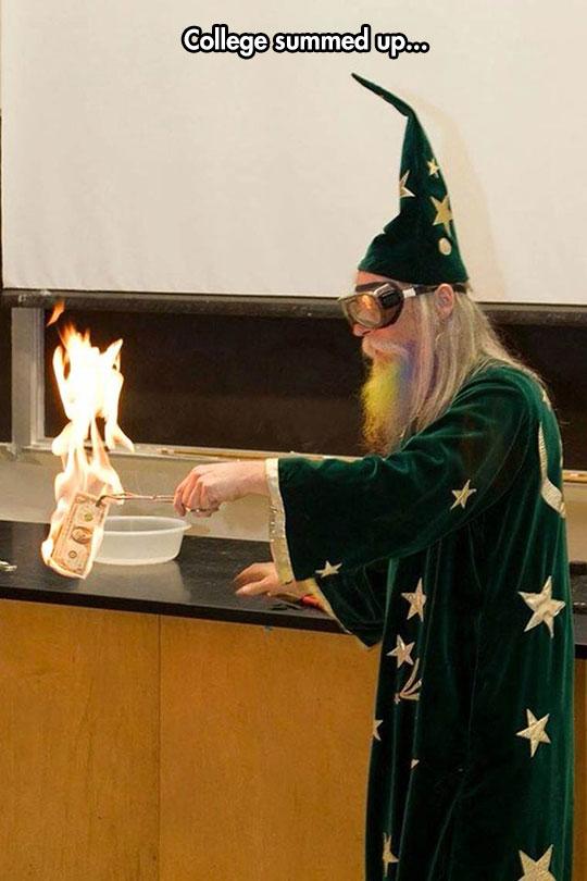 funny-wizard-costume-teacher-burning-money