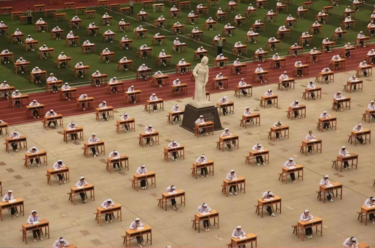 student nurses in China take an exam