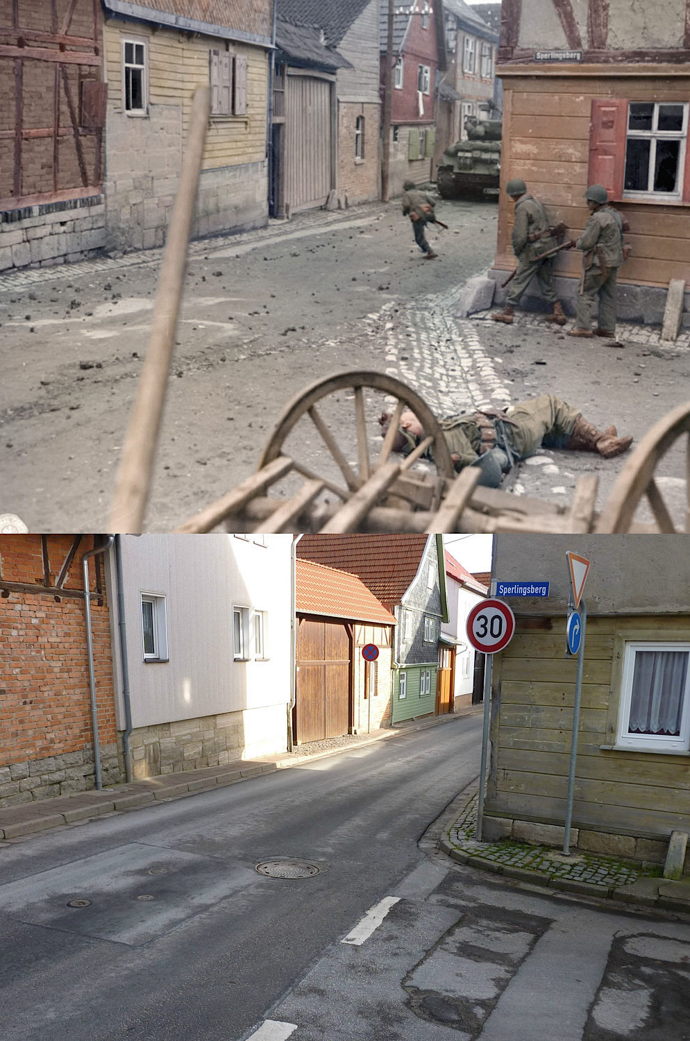 A street in Germany during WWII vs today