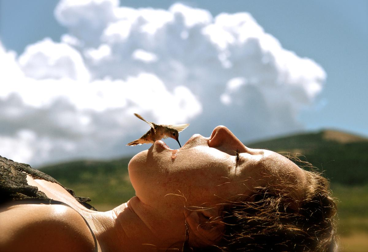 A very hungry humming bird drinking from the mouth of a person in Wyoming during an extreme drought in 2012.