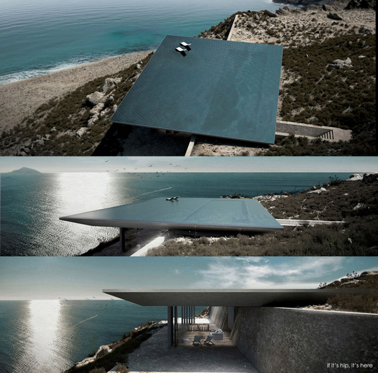 Rimless pool roof which hides the entire house beneath it overlooking the Aegean Sea.