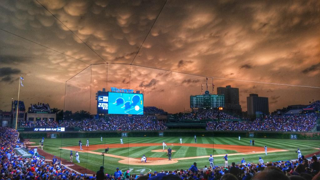 The sky over Wrigley Field in Chicago tonight.