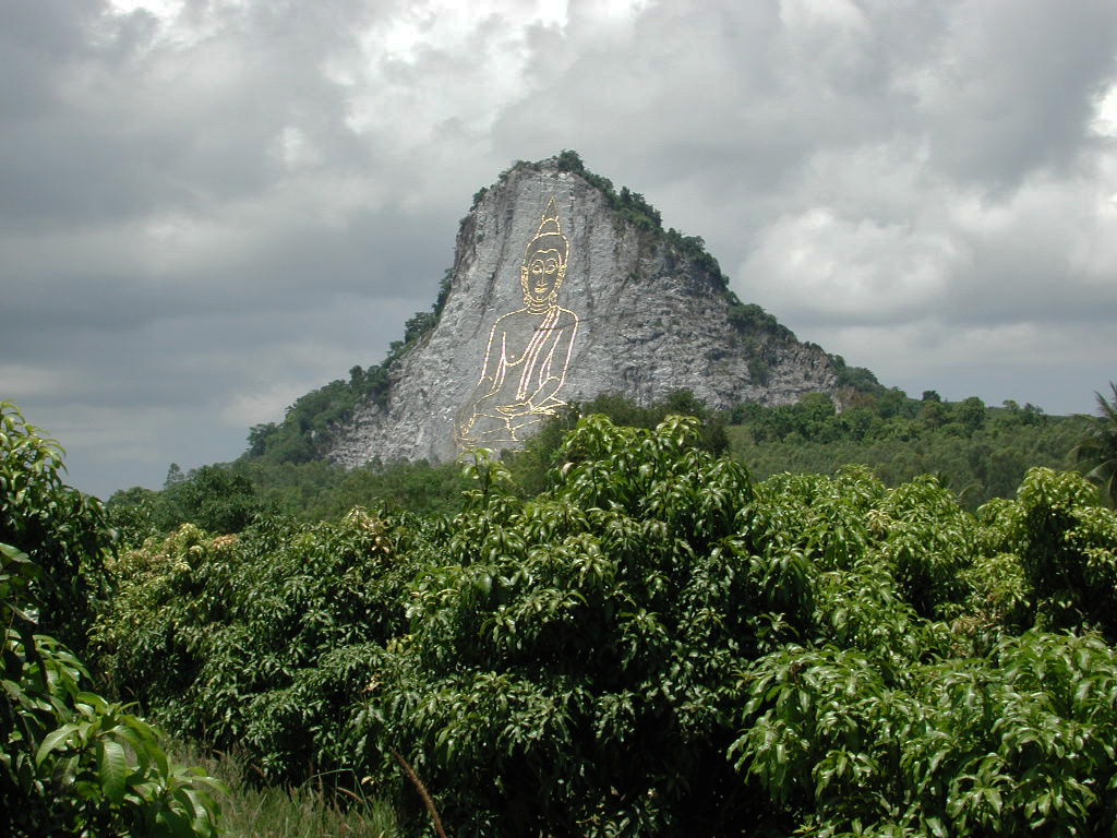 This cliff in Chonburi, Thailand, has a Buddha figure engraved in it, 130m tall and 70m wide and is inlaid with gold.