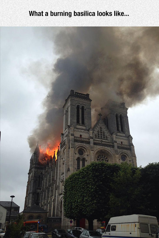 French Church On Fire