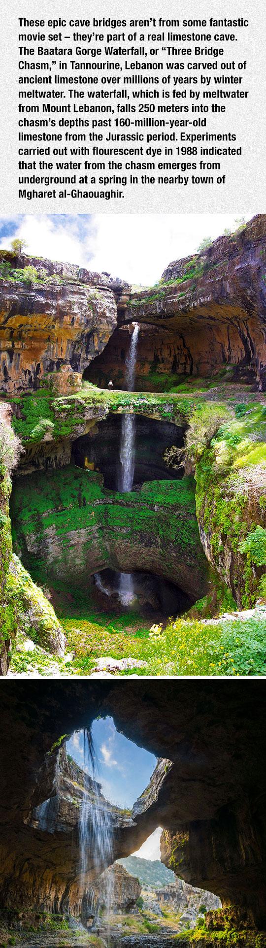 cool-cave-three-bridges-waterfall
