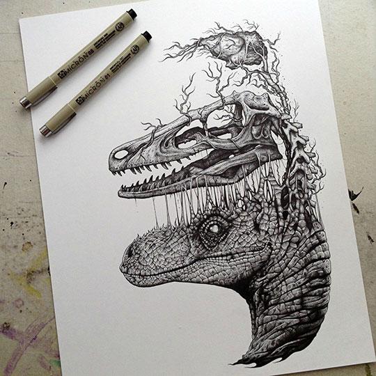 cool-dinosaur-drawing-skull-brain