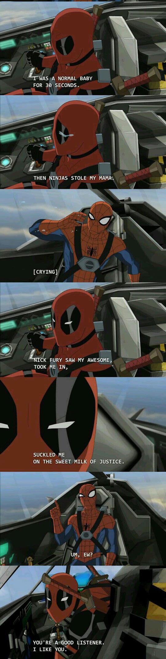 funny-Deadpool-story-origin-Spiderman-flying