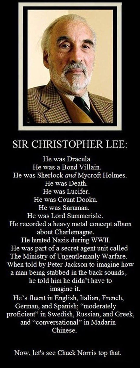 Sir Christopher Lee Is Unbeatable