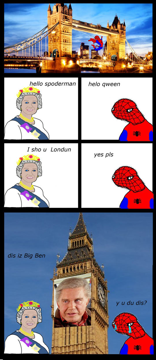 funny-Spiderman-queen-England-please