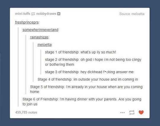 The Six Stages Of Friendship