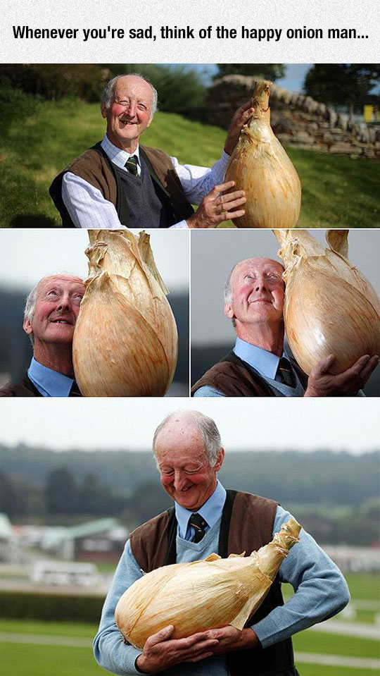 He Just Looks So Happy With His Onion