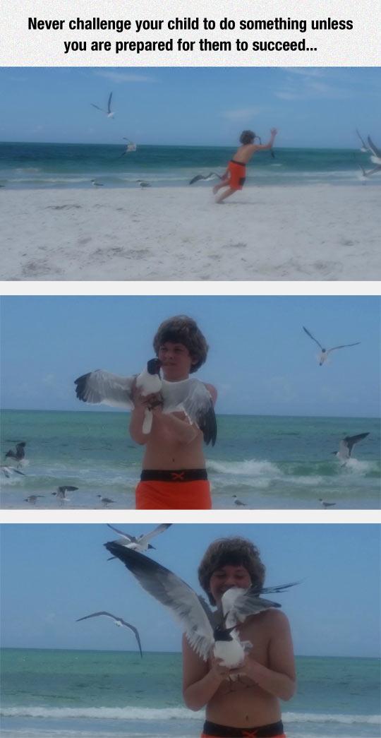 funny-kid-catch-seagull-beach
