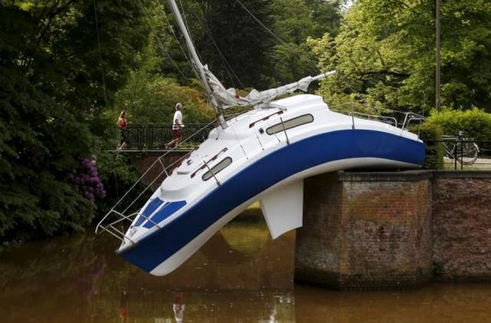 "The sailing ship ""Misconceivable"" by Austrian artist Erwin Wurm is seen at the Middelheim Museum in Antwerp, Belgium, June 1, 2015. REUTERS/Francois Lenoir"