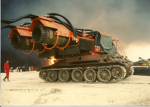 A tank that blows out oil well fires.