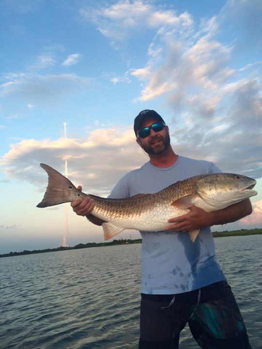 Buddy caught a 45 inch redfish, perfect timing.