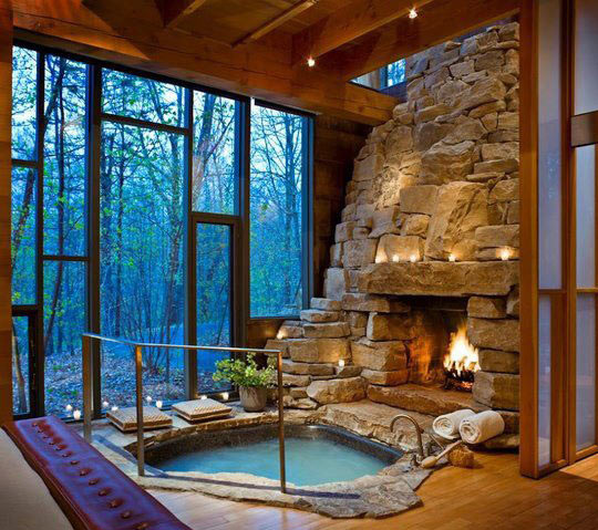 Stunning Indoor Fireplace and Hot Tub…