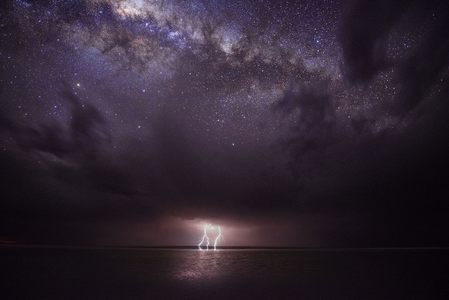 The Milky Way and some lightning.