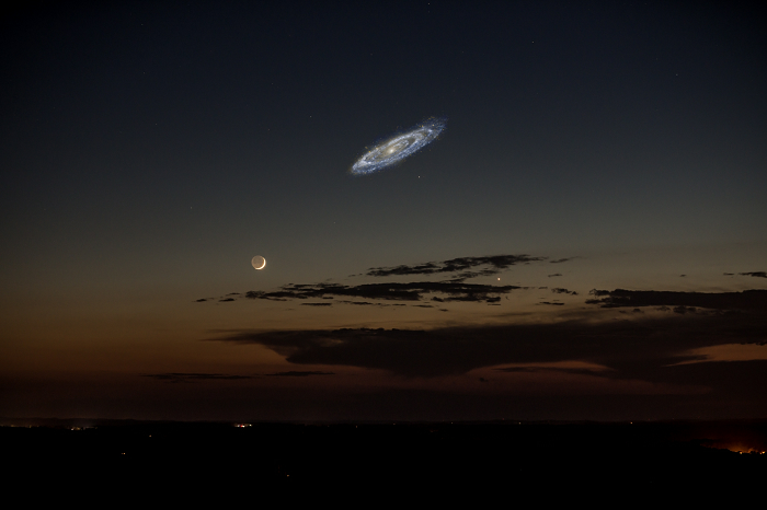 The size of the Andromeda galaxy if it was brighter