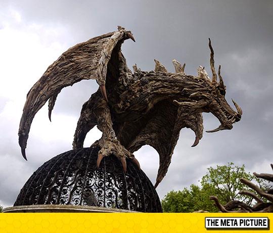 Driftwood Dragon Statue