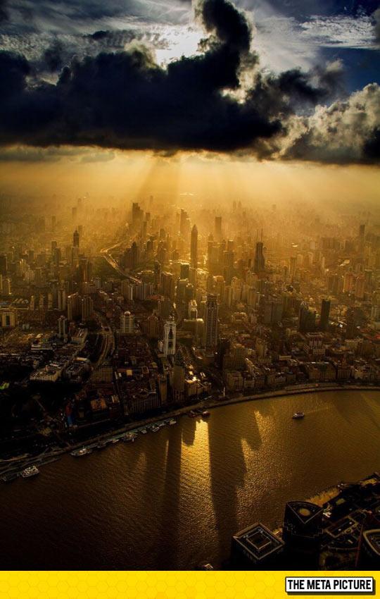 Overhead View Of Shanghai