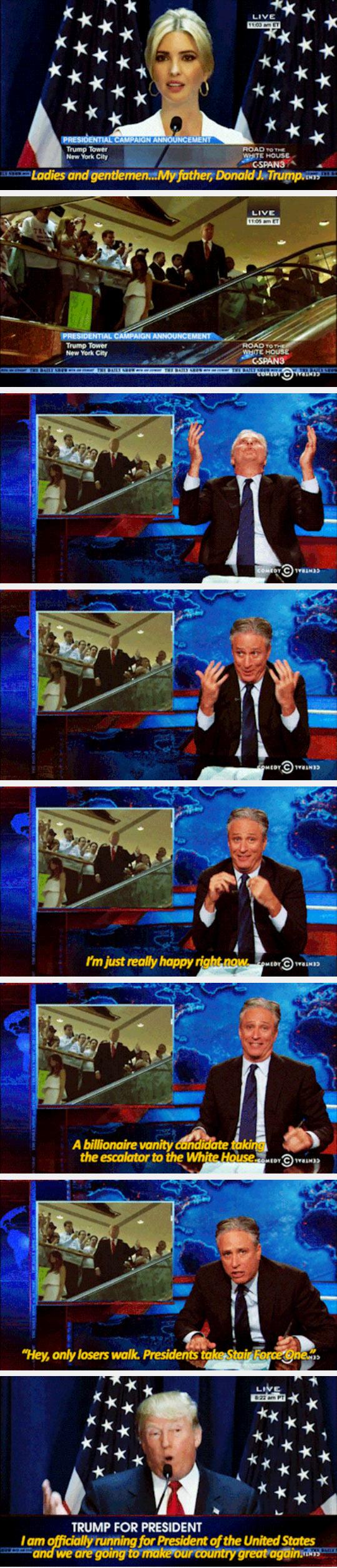 Jon Stewart Reacts To Donald Trump