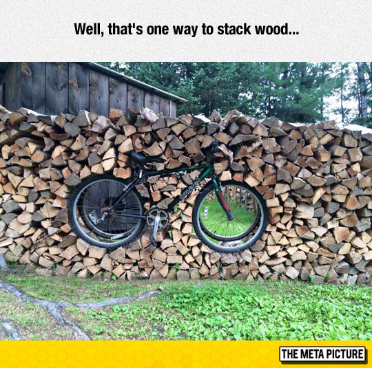funny-bike-wood-stack-fence
