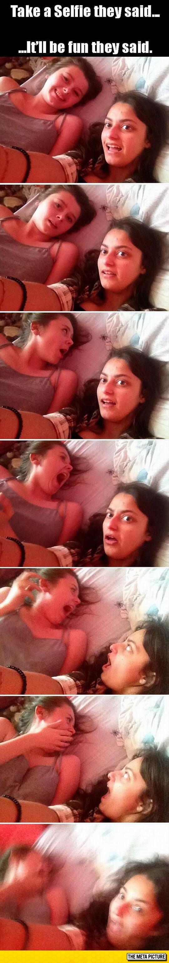 funny-girl-selfie-spider-bed