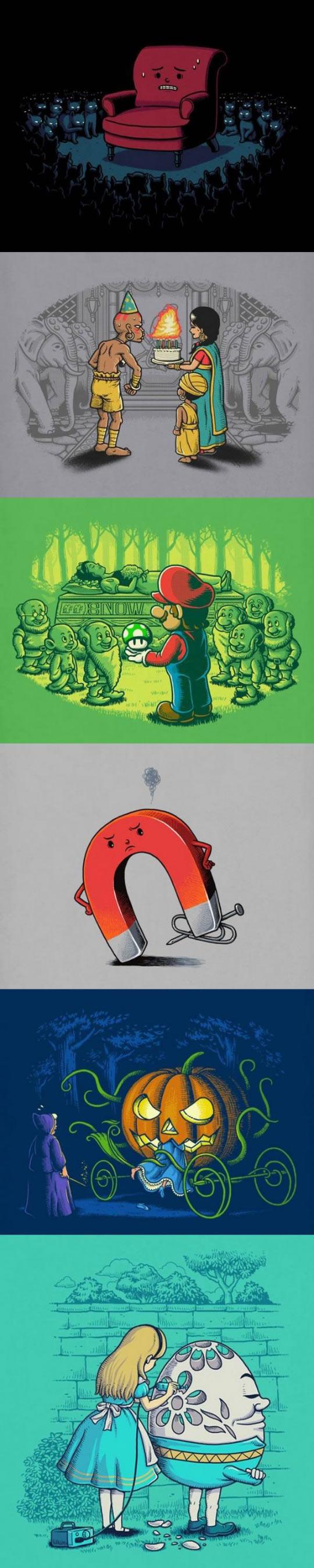 funny-illustrations-Pinocchio-Snow-White-Alice