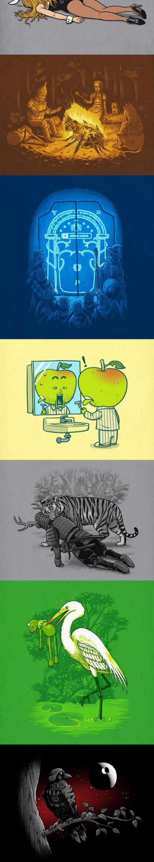funny-illustrations-Pinocchio-Star-Wars-crow