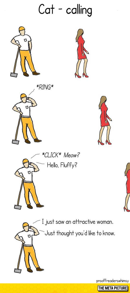 funny-man-calling-cat-woman