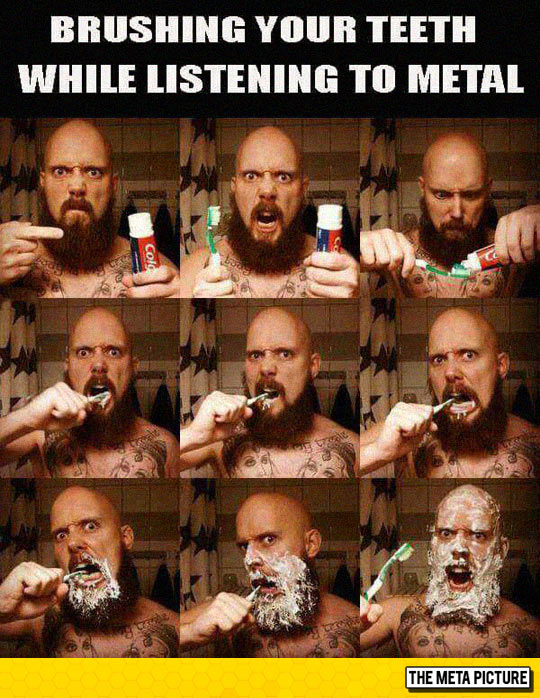 Metal Fan Brushing His Teeth