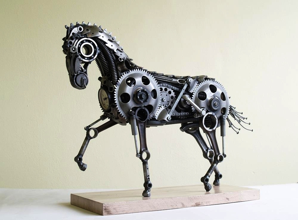 Horse made by my uncle. He turns scrap metal into this kind of stuff.