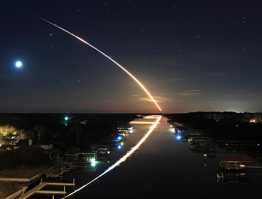 Long exposure image of a night shuttle launch