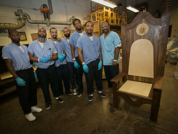 Philly inmates make carved chair for Pope Francis1