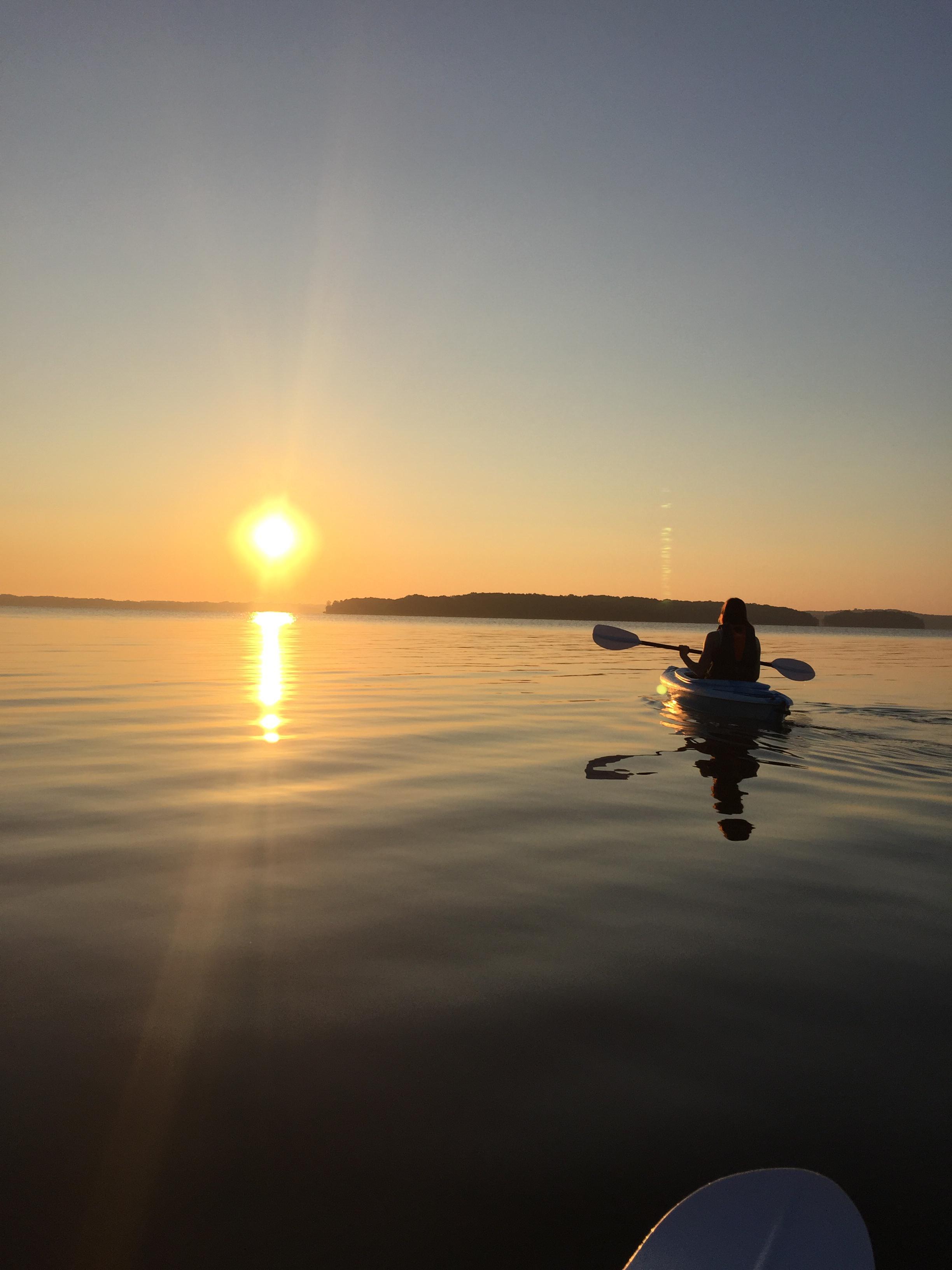 Sunrise on the lake with my lady.