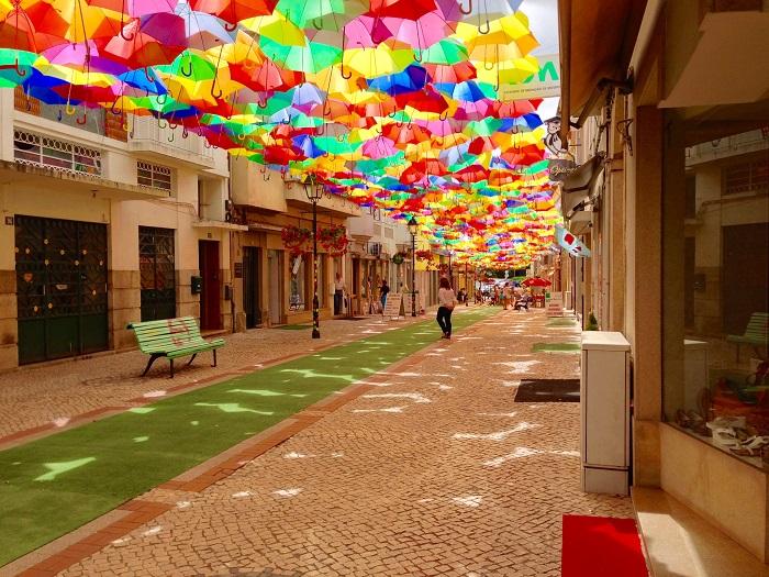 Umbrella decorated street