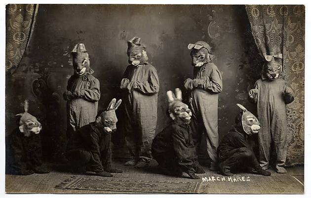 Vintage-Creepy-Old-Photos-kids-rabbit-costumes