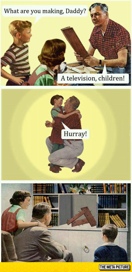 funny-dad-building-TV-wood-children