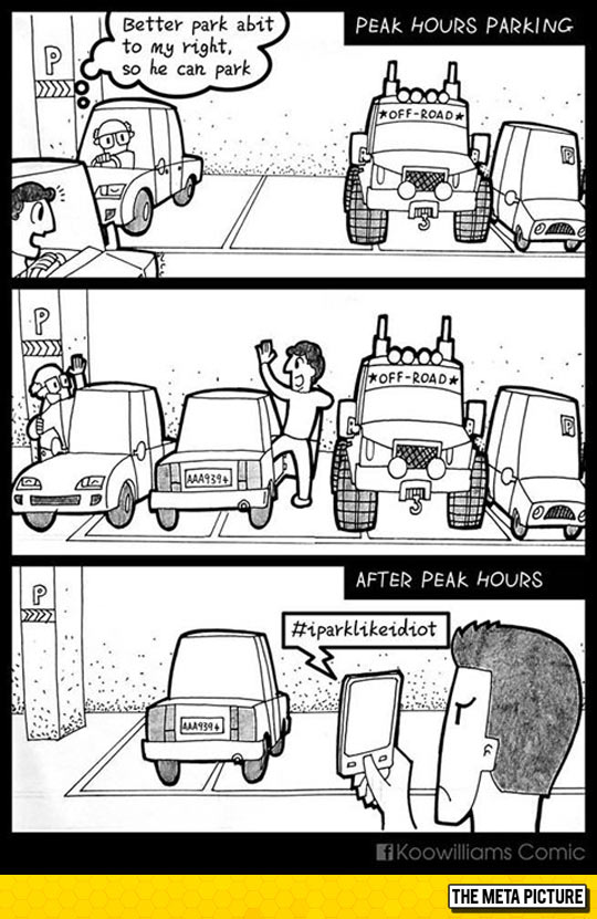 funny-men-greeting-glasses-car-parking-lot