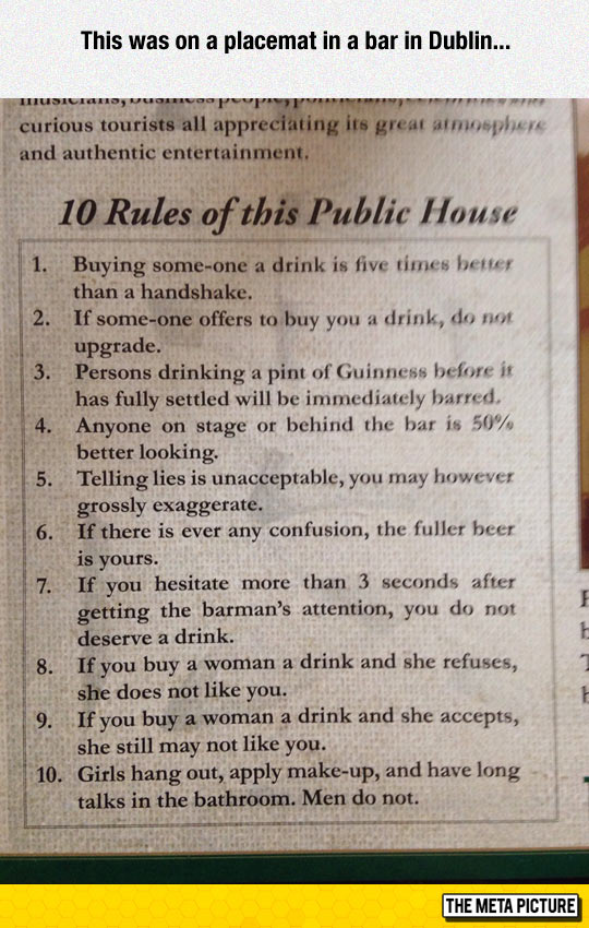 funny-placemat-bar-Dublin-rules