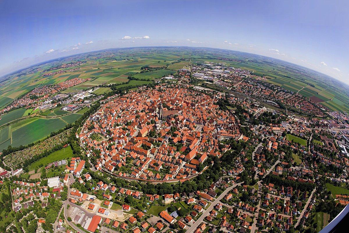 Bavarian town of Nördlingen built in a 14 million year old