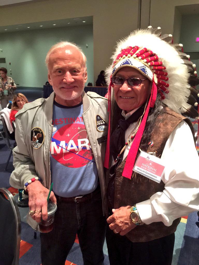 Buzz Aldrin with Geronimo's grandson Harlon Geronimo.