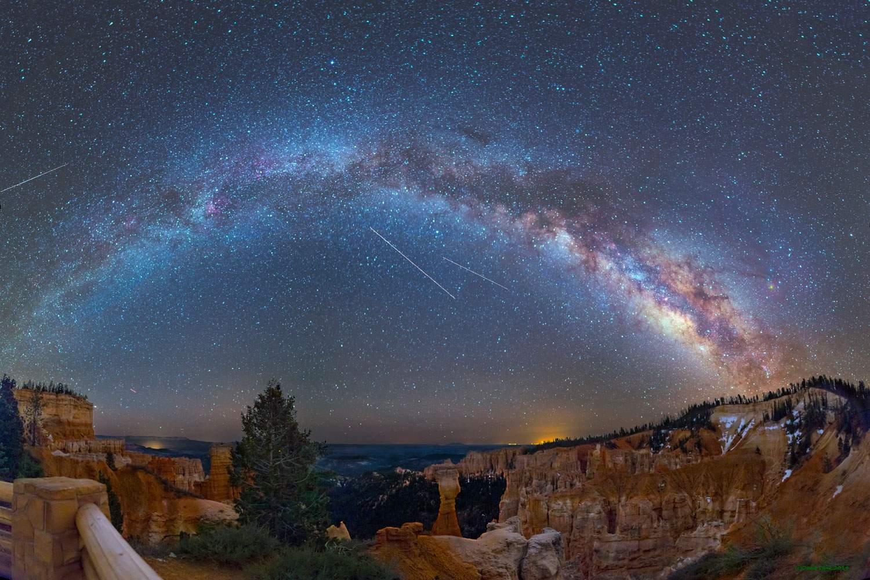 Meteors over Bryce Canyon, Utah.