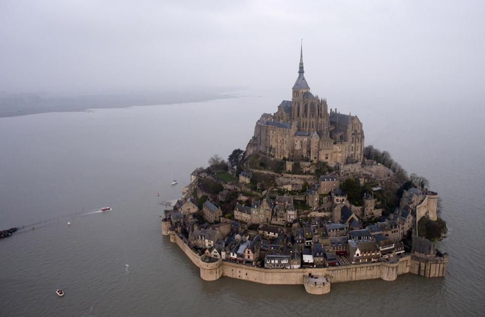 Rare supertide turns ancient Mont Saint-Michel into island