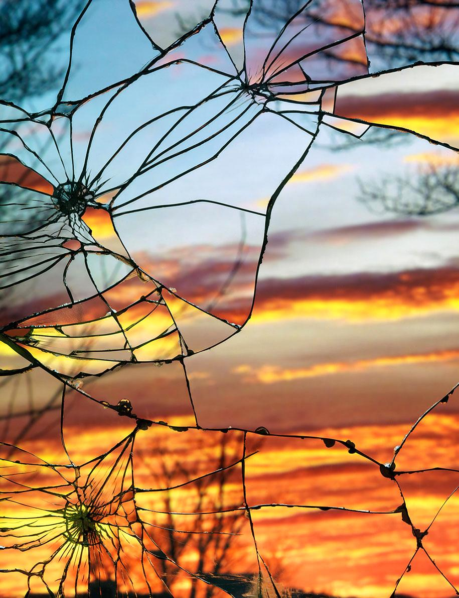 Reflected Sunset through a Shattered Mirro